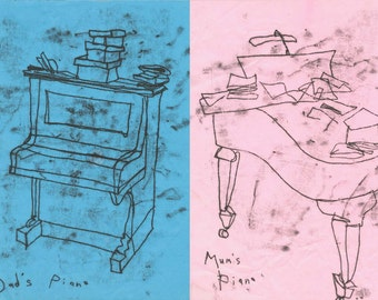 Illustrated Piano Greeting Card- Monoprint- Mum and Dad's pianos