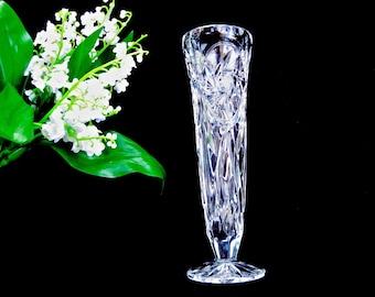 "Cut Crystal Bud Vase • 8"" Stars and Pinwheels Thumbprint Rim • Old LIKE NEW"