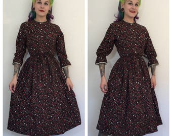 Vintage 1950's Brown Paisley Dress with Heart Buttons