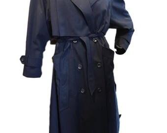 Superb 1980s Caped Pleated Back Blue Mac Raincoat Wrap Coat St Michael 10