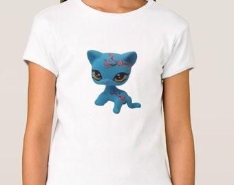 Girl's Custom Littlest Pet Shop Cherry Blossom Shorthair Cat Fitted Babydoll T-Shirt
