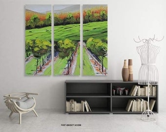 """Napa Valley Art, Vineyard Painting, 36"""", Large Wall Canvas Art, MADE TO ORDER, Wine Country, Napa Valley, California Landscape Artwork"""