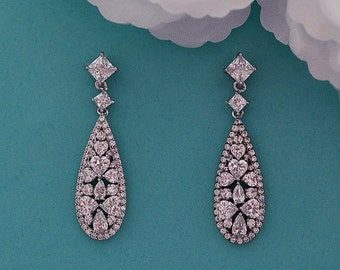 Vintage Bridal Earrings CZ Zirconium Swarovski Crystal Wedding Accessories Dangle Long Earrings Bridal Jewelry Party Earrings 024