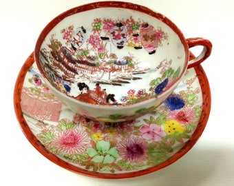 Japanese Eggshell Porcelain Tea Cup & Saucer, Chinese Lanterns Geisha Hand Decorated Set