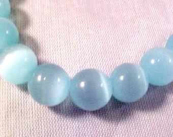 Seafoam Cat's Eye Glass Beads 8 mm 15 Inch Strand FREE SHIPPING