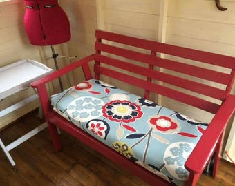 Made to measure bench cushion, dining bench cushion, bespoke sizes, kitchen bench pad, up to 120cm wide, choice of fabric, foam bench pad