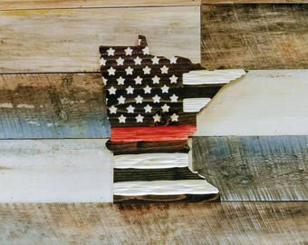 Thin Red Line Minnesota Chisel Texture Carved Wooden flag.