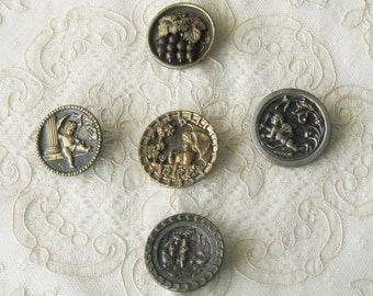 SALE !!  Lot of 5 Large  Antique  Metal Picture Buttons