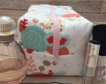 Blush, Coral, Mint, and Gold Floral Makeup Bag, Coral Cosmetic Bag, Box Pouch, Bridesmaid Makeup Bag, Monogram Available
