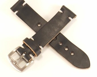 Black Horween Chromexcel leather watch strap band, handmade 18, 20, 22mm Made in USA Hand Stitched - Choice Of Thread - Fathers Day Gift