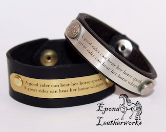"""Quote Horse Bracelet - """"A good rider can hear her horse speak. A great rider can hear her horse whisper""""-Leather Bracelet-Epona Leatherworks"""