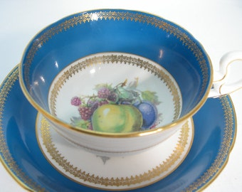 Antique  Royal Grafton  dark turquoise and gold Tea Cup And Saucer, Fruit orchard tea cup set, English tea cup and saucer set.