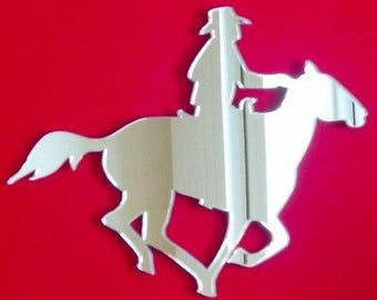 Cowboy on Horse Mirror - Silver Acrylic Mirror in several Sizes