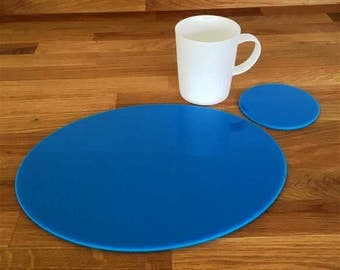 Oval Placemats or Placemats & Coasters - in Bright Blue Gloss Finish Acrylic 3mm