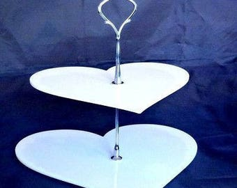 Heart Shaped Two Tier Silver Rod Acrylic Cup Cake / High Tea Cake Stand - In Various Sizes and Colours