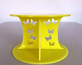 """Butterfly Round Yellow Gloss Acrylic Cake Pillars/Cake Separators, for Wedding / Party Cakes 10cm 4"""" High, Size 6"""" 7"""" 8"""" 9"""" 10"""" 11"""" 12"""""""