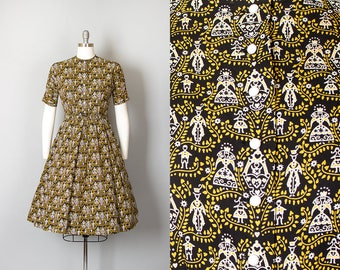 Vintage 1950s Dress | 50s LANZ Novelty Print Cotton Black Full Skirt Shirtwaist Day Dress (small)