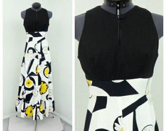 Vintage 70s Black Maxi Dress, Hawaiian Dress, Boho Dress, Floral Dress, Keyhole Dress, Summer Dress, Sleeveless Dress, Long A Line Dress