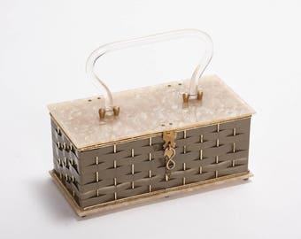 Vintage 1950s Clear + Pearlized Lucite Handbag  • Revival Vintage Boutique