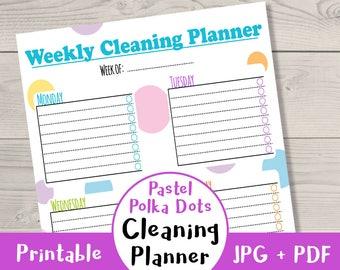 Pastel Polka Dots Cleaning Planner Printable, Printable Cleaning Schedule, Weekly House Cleaning Checklist, Home Binder, PDF Printable