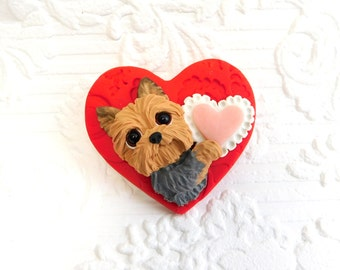 Yorkshire Terrier Yorkie PIN Valentine Brooch by Raquel at theWRC pin hand sculpted from polymer clay DOG Jewelry