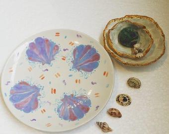 seashell trinkett dish with confetti pattern