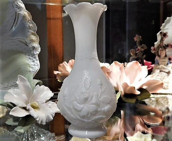 Vintage Imperial Glass Bud Vase White Milk Glass Embossed Roses 1950s Mid Century Country Cottage Farmhouse Home Decor Wedding Gift QTY  3