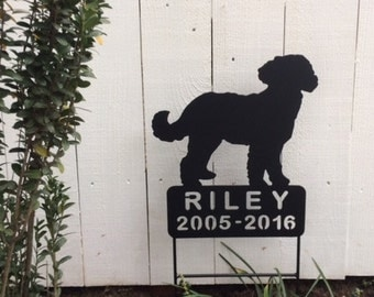 Labradoodle, Goldendoodle, Dog Pet Memorial, Metal Pet Memorials, Pet Cemetery Grave Marker, Pet Address Sign, Dog Memorials, Dog Signs, D16