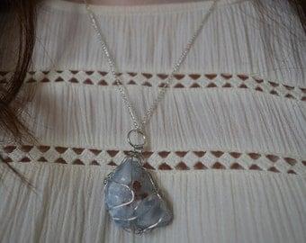 Boho Blue Calcite Gemstone Wire Wrapped Handmade Necklace