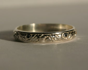 Sterling Silver Patterned Spinner Ring, Sterling Silver Thumb Ring, Silver patterned Ring