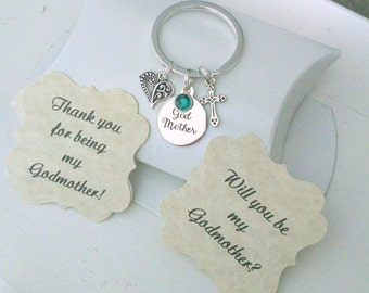 Godmother Gift, Godmother Keychain, Will You Be My Godmother, Gift For Godmother, Thank You For Being My Godmother, Charm Small as Nickle