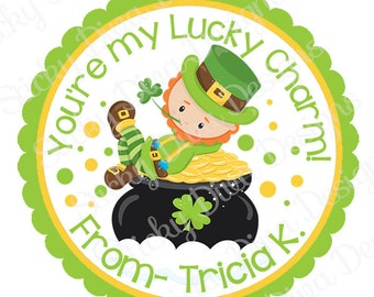 PERSONALIZED St.PATRICKS STICKERS - Your My Lucky Charm  - Round Gloss Sticker Labels