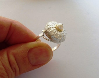 Statement silver sea urchin ring.Central natural pearl or sapphire set in gold 18 ct- nautical ring - sea urchin ring- great on your suntan