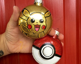 Pikachu Ornament - PokeBall Ornament - Pokemon Ornament - Pokemon Gift - Pokeball - Pikachu - Pokemon - Personalized Ornament