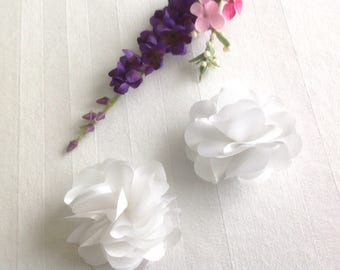 White, Pink or Ivory set of 2 Hair Clips- Flower Hair Clips Wedding Hair Clips Prom  Hair Clips  -  Set of 2