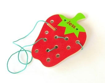 Montessori toy, Wood Sewing game - Strawberry, Educational toy, Toddler toy, Personalized Wooden Toy