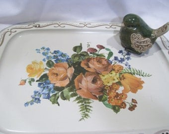 Floral Mid Century Tray with Tall Legs,Metal TV Tray,Shabby Chic Decor, Standing Tray