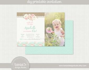 Shabby Chic Printable Birthday Invitation by tania's design studio