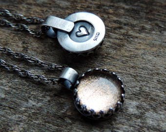 Champagne Pixie Sparkle Pendant Necklace | Pixie Glass | Oxidized Sterling Silver, Rustic Glitter Charm, Talisman, Ready to Ship