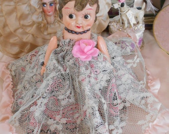 Sweet 1930's Celluloid Carnival Doll w/Lace, Pink Ribbon & Rose Dress
