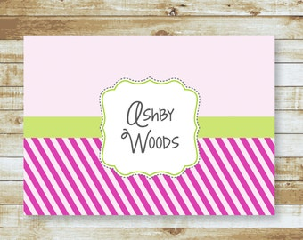 Personalized Folded Note cards / Stationery / Pink Stripes / Ashby