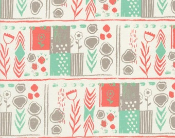 Cotton and Steel August Teal Blue Green and Coral Flowers Fabric 2000-001 BTY 1 Yd