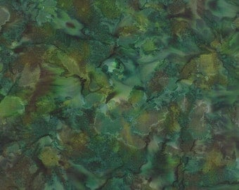 MODA Tropical Punch Batik Green Blue Brown Marbled Batik Fabric 4338-27 BTY