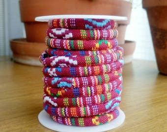 Red Multi Ethnic Cotton Cord 6,5mm approximately, 92cm/1yard