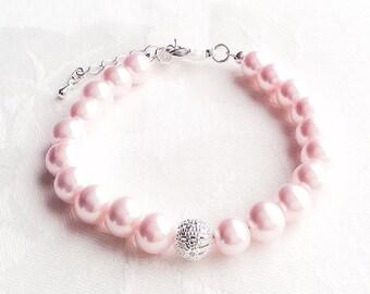 Pink Bracelet, Pink Jewelry, Blush Bracelet, Blush Pink, Bridesmaid Jewelry, Wedding