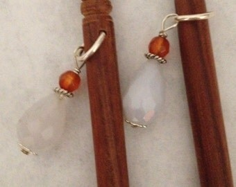 8 inch rosewood ss hair sticks with sterling silver wire wrapped faceted chalcedony and carnelian beads on each hair stick