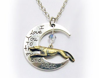 Greyhound Whippet Galgo Lurcher Love You to the Moon and Back Brindle Engraved Silver Necklace Glass Accent Bead