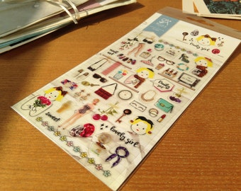 Daily girl stickers for scrapbooking