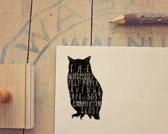 Owl Return Address Stamp - Rustic Address Stamp - Personalized Gift - Rubber Stamp - Custom Address Stamp