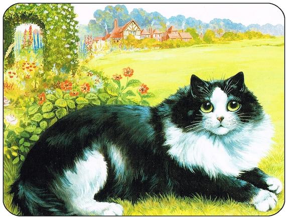 Louis Wain Black & White Cat Mouse Mat Mouse Pad